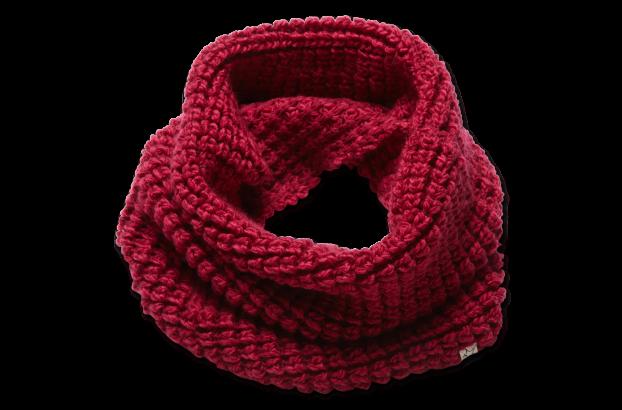 时尚套头款围巾,采用复古粗棒针织法