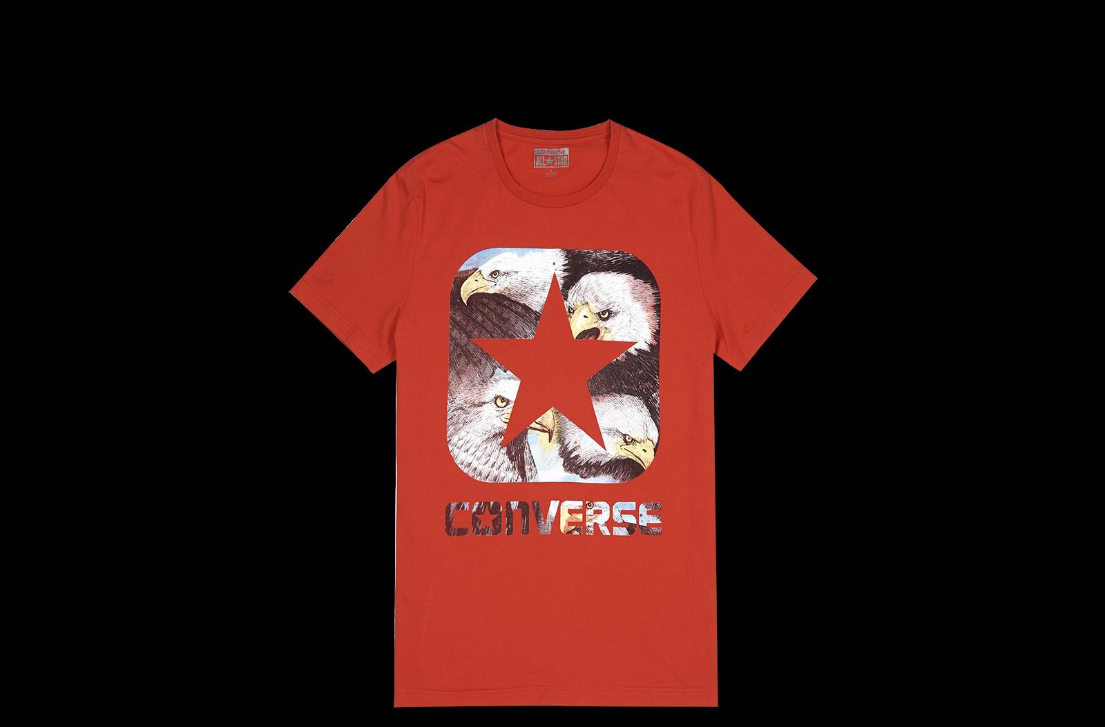 匡威converse 美国鹰盒形logo印花短袖t恤图片