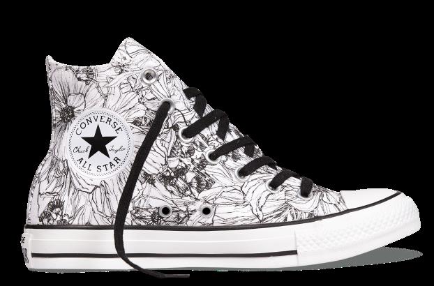 鞋面采用线描风格的手绘花朵印花图案,凸显春日的生机盎然与浪漫诗意.